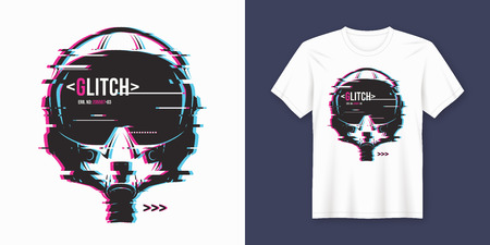 Stylish t-shirt and apparel trendy design with glitchy flight he Banque d'images - 104461669
