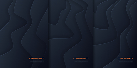 Vector abstract paper cut wavy backgrounds, futuristic cover designs, trendy brochure templates. Global swatches.