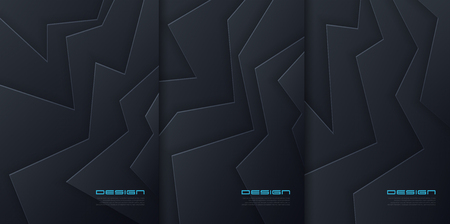 Vector abstract paper cut backgrounds, futuristic cover designs, trendy brochure templates. Global swatches.