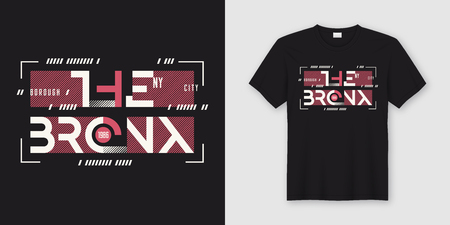 The Bronx New York geometric abstract style t-shirt and apparel design, typography, print, vector illustration. Global swatches.