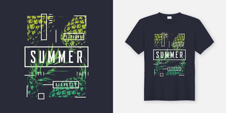 Summer t-shirt and apparel modern design with styled pineapples, typography, print, vector illustration. Global swatches. Çizim