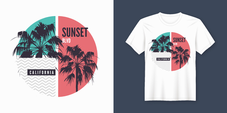 Sunset Blvd California t-shirt and apparel trendy design with palm trees silhouettes, typography, print, vector illustration. Global swatches. Banco de Imagens - 114957327