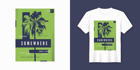 Quelque part t-shirt et vêtements design tendance avec silhouette de palmier, typographie, affiche, impression, illustration vectorielle. Nuancier global.