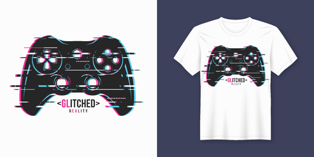 Stylish t-shirt and apparel trendy design with glitchy gamepad, typography, print, vector illustration. Global swatches.  イラスト・ベクター素材