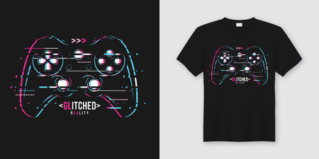 Stylish t-shirt and apparel trendy design with glitchy gamepad, typography, print, vector illustration. Global swatches. Фото со стока