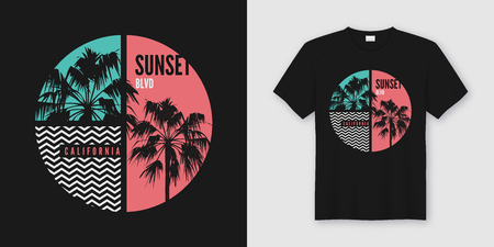 Sunset Blvd California t-shirt and apparel trendy design with palm trees silhouettes, typography, print, vector illustration. Global swatches.