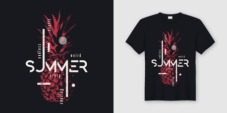 Endless summer t-shirt and apparel modern design with styled pineapple, typography, print, vector illustration. Global swatches.