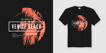 Venice beach t-shirt and apparel trendy design with palm tree silhouette, typography, poster, print, vector illustration. Global swatches. Stock Photo