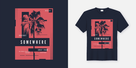 Somewhere t-shirt and apparel trendy design with palm tree silhouette, typography, poster, print, vector illustration. Global swatches. Banque d'images