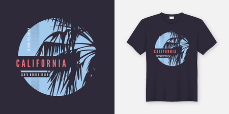 Santa Monica Beach t-shirt and apparel trendy design with palm trees silhouettes, typography, print, vector illustration. Global swatches.