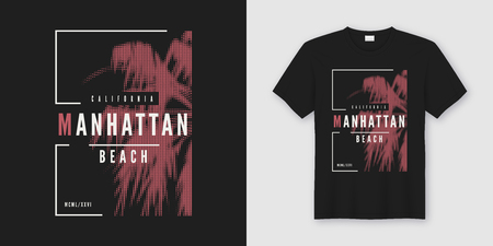 Manhattan beach t-shirt and apparel trendy design with styled palm tree silhouette, typography, poster, print, vector illustration. Global swatches. 向量圖像