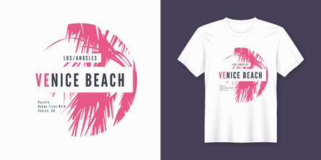 Venice beach t-shirt and apparel trendy design with palm tree silhouette, typography, poster, print, vector illustration. Global swatches. 일러스트