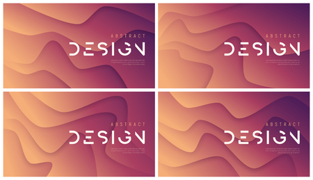 Set of vector abstract wavy backgrounds, trendy minimalist futuristic designs. Global swatches.