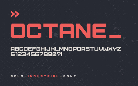 Vector bold industrial style display font, modern blocky typeface, futuristic uppercase letters and numbers, alphabet. Global swatches.