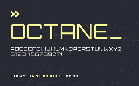 Vector light industrial style display font, modern blocky typeface, futuristic uppercase letters and numbers, alphabet. Global swatches.