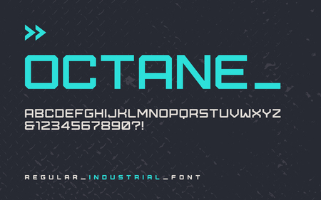 Vector regular industrial style display font, modern blocky typeface, futuristic uppercase letters and numbers, alphabet. Global swatches.