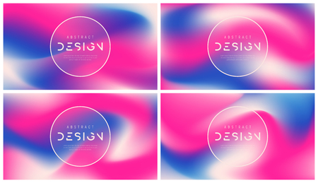 Set of vector abstract colorful backgrounds, trendy futuristic gradient designs, minimalist liquid style compostions. Global swatches.