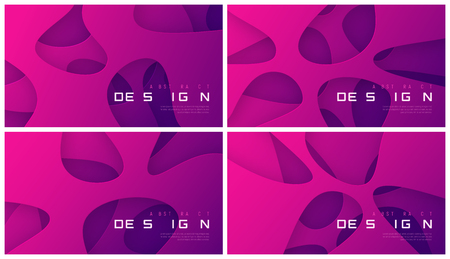 Set of vector abstract futuristic gradient backgrounds, organic minimalist designs. Global swatches.