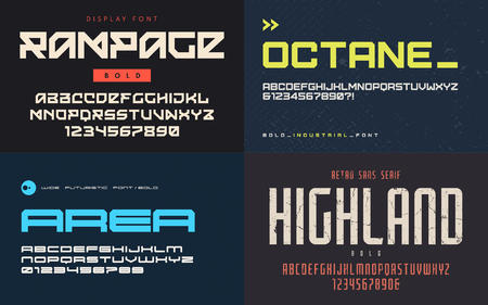 Set of display fonts, typefaces, vector uppercase letters and numbers. Global swatches. Illustration