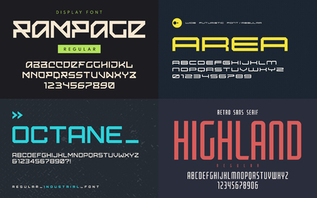 Set of display fonts, typefaces, vector uppercase letters and numbers. Global swatches. Ilustração