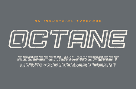Octane vector display typeface, font, alphabet, typography Global swatches