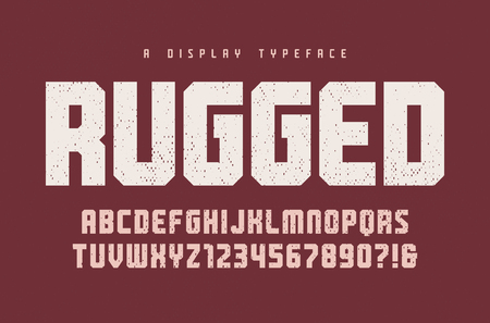 Rugged vector heavy display typeface, font, uppercase letters and numbers, alphabet, typography. Global swatches