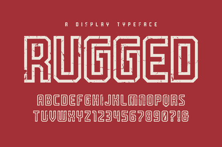 Rugged vector display typeface, font, uppercase letters and numbers
