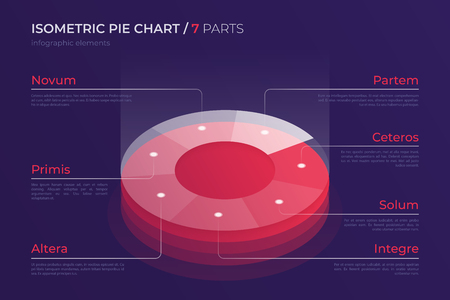 Vector isometric pie chart design, modern template for creating infographics, presentations, reports, visualizations. Global swatches.