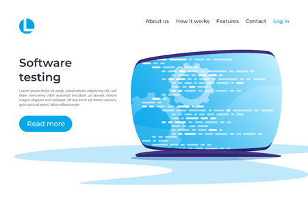 Software development, programming, coding, testing vector concept. Landing page template Global swatches