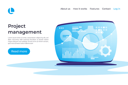Project management, data analysis, planning, controlling vector concept. Landing page template. Global swatches
