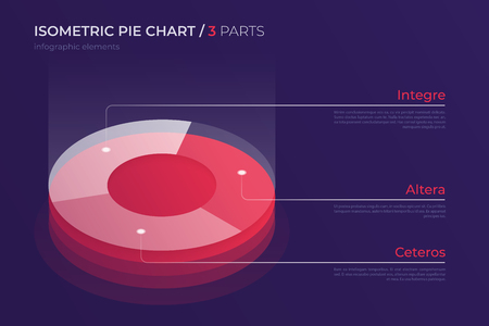 Vector isometric pie chart design, modern template for creating infographics, presentations, reports, visualizations. Global swatches. 向量圖像