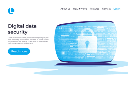 Digital data security, encryption, protection vector concept. Landing page template. Global swatches