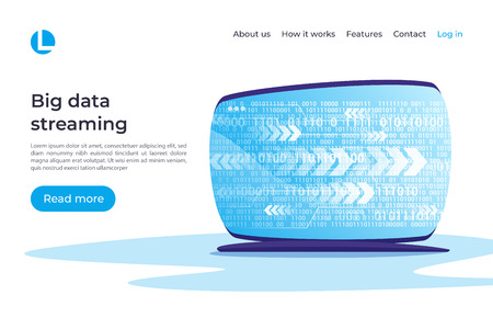 Big data streaming, cryptographic analysis vector concept. Landing page template. Global swatches.