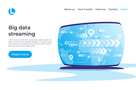 Big data streaming, global coonnections vector concept. Landing page template. Global swatches. Иллюстрация