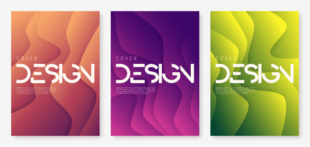 Abstract gradient geometric wavy cover designs, brochure templates, posters. Vector illustration. Global swatches.
