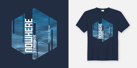En ninguna parte y en todas partes el diseño abstracto de la camiseta y la ropa del vector de moda, la tipografía, la impresión, el cartel. Muestras globales.