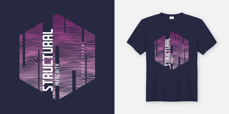 Structural integrity abstract sci-fi vector t-shirt and apparel design, typography, print, poster. Global swatches. Illusztráció