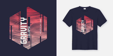 Gravity collapse abstract fashionable vector t-shirt and apparel design, typography, print, poster. Global swatches.