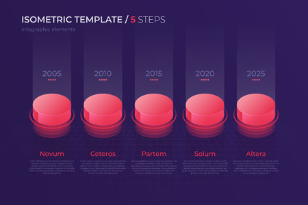 Vector design with isometric elements, template for creating infographics, presentations, reports, visualizations. Global swatches