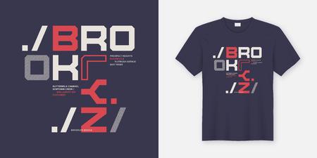 Diseño de camisetas y prendas de Brooklyn New York. Impresión vectorial, tipografía, cartel. Muestras globales. Ilustración de vector