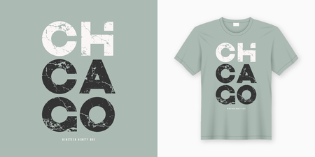 Chicago stylish t-shirt and apparel design. Vector print, typography, poster. Global swatches.
