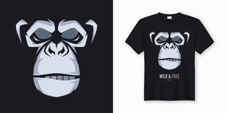 Diseño de camiseta y ropa de vector, impresión, cartel con estilo. Ilustración de vector