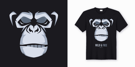 Vector t-shirt and apparel design, print, poster with styled. Ilustracja