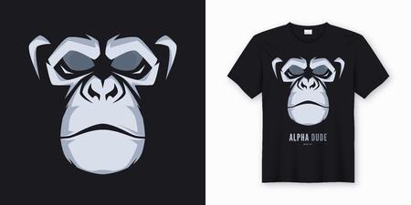 Vektor-T-Shirt und Bekleidungsdesign, Druck, Poster mit gestyltem Gesicht