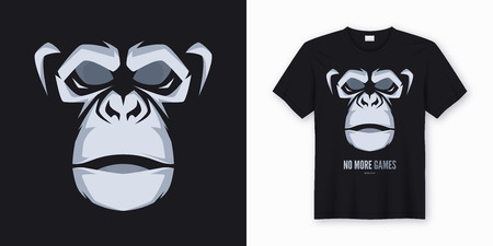 Vector t-shirt and apparel design, print, poster with styled face of a chimp Reklamní fotografie