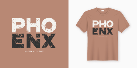 Phoenix stylish t-shirt and apparel design. Vector print, typography