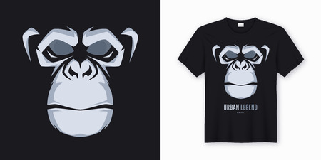 Vector t-shirt and apparel design, print, poster with styled face of a chimp Stock Photo