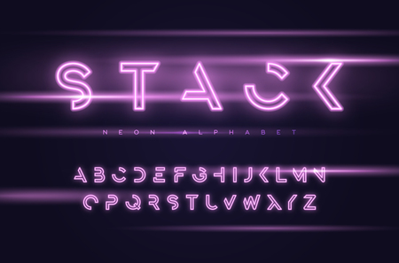 Vector neon futuristic display typeface, font, alphabet, typography Global swatches