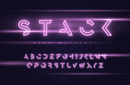 Vector neon futuristico display carattere tipografico, font, alfabeto, tipografia campioni globali Vettoriali