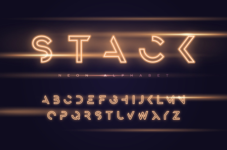 Vector neon futuristic display typeface, font, alphabet, typography Global swatches Çizim